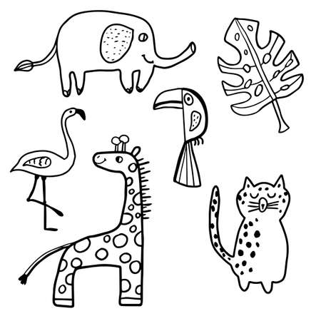 Cute hand drawn doodle African animals set isolated on white background. Giraffe, Toucan, Elephant, Leopard, Flamingo and leaf of Monstera. Vector illustration. 矢量图像