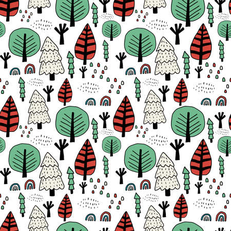 Cute doodle Scandinavian forest with trees. Oak, spruce. Fantasy woodland seamless pattern. Floral background. Vector illustration.