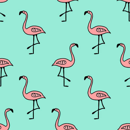 Seamless pattern with cartoon doodle pink flamingo isolated on blue background. Vector illustration. 矢量图像