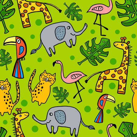 Cute hand drawn doodle African animals seamless pattern. Background with Giraffe, Toucan, Elephant, Leopard, Flamingo and leaf of Monstera. Vector illustration.