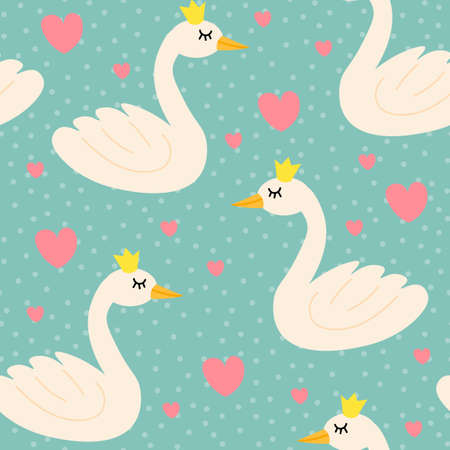 Cute cartoon happy swan with crown in flat style with hearts and dots seamless pattern. Romantic birds background. Vector illustration.