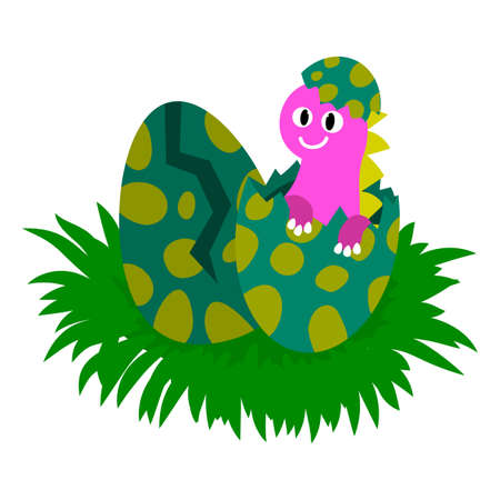 Cute baby dinosaurs in the nest. Dinosaur hatches from an egg. Prehistoric animals isolated on white background. Vector illustration.