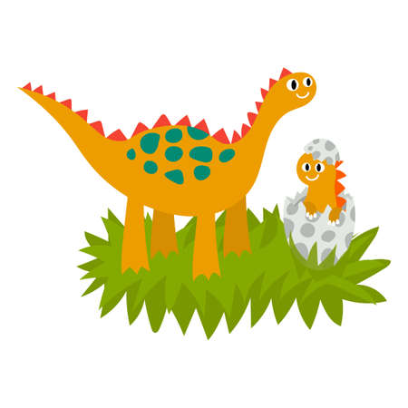 Cute dinosaurs family, mother and baby in the nest. Dinosaur hatches from an egg. Prehistoric animals isolated on white background. Vector illustration.