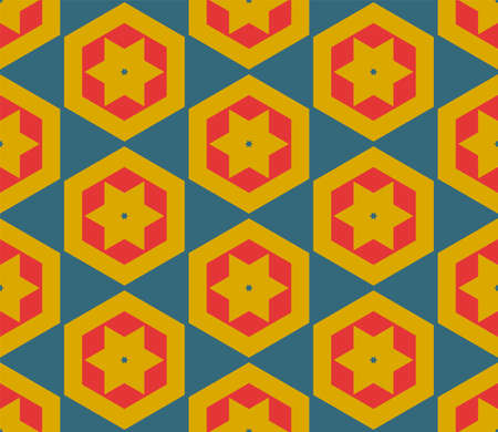 Abstract fantasy thin line hexagon, triangle geometric seamless pattern. Creative mosaic, tile background.