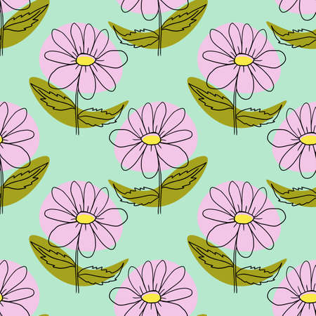 Cute cartoon polka dot sloppy flowers in doodle style seamless pattern. Floral childlike style background.