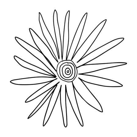 Colorful fantasy doodle cartoon sloppy flower isolated on white background. Vector illustration.