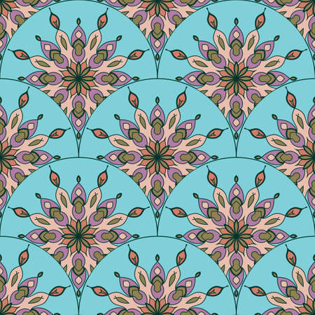 Abstract mandala fish scale seamless pattern. Ornamental tile, mosaic background. Floral patchwork infinity card. Arabic, Indian, ottoman motifs.