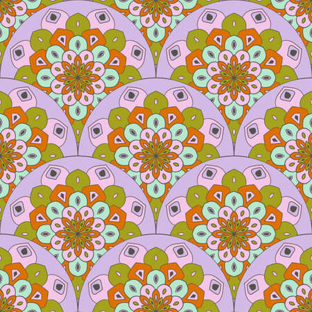 Abstract mandala fish scale seamless pattern. Ornamental tile, mosaic background. Floral patchwork infinity card. Arabic, Indian, ottoman motifs. Illustration