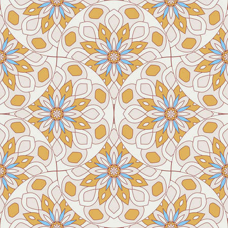 Abstract mandala fish scale seamless pattern. Ornamental tile, mosaic background. Floral patchwork infinity card. Arabic, Indian, ottoman motifs. Standard-Bild - 167146269