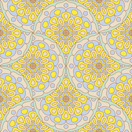 Abstract mandala fish scale seamless pattern. Ornamental tile, mosaic background. Floral patchwork infinity card. Arabic, Indian, ottoman motifs. Standard-Bild - 167146274