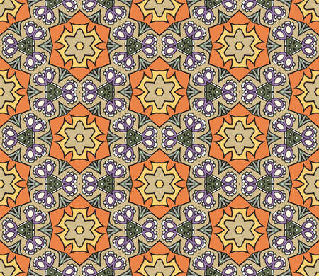 Abstract colorful doodle geometric flower seamless pattern. Floral background. Mosaic, geo tile of thin line ornament. Ilustración de vector