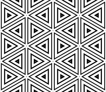 Abstract black and white halftone hexagon, triangle seamless pattern. Geo shape background. Mosaic, tile of thin line ornament.