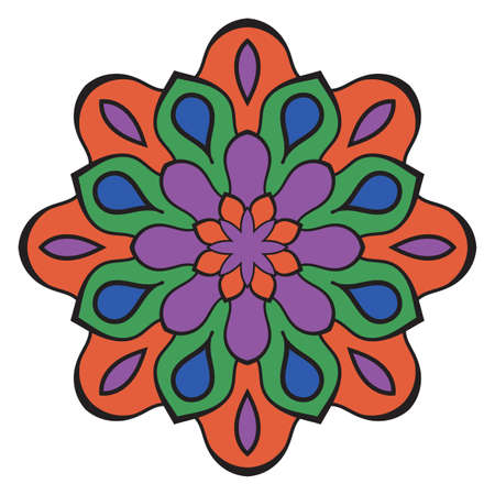 Cute Mandala. Ornamental round doodle flower isolated on white background. Geometric decorative ornament in ethnic oriental style.