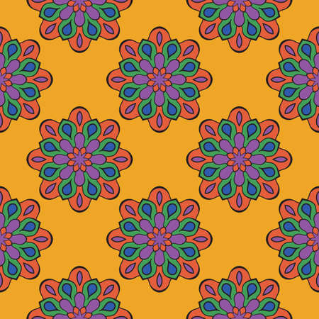 Abstract seamless pattern with mandala flower. Mosaic, tile, polka dot. Floral background. Иллюстрация
