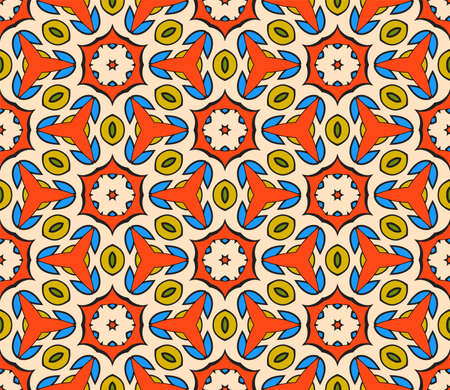 Abstract colorful doodle flower seamless pattern. Floral geometric background. Mosaic, tile of thin line ornament. Иллюстрация