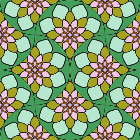 Abstract geo fish scale seamless pattern. Ornamental tile, mosaic background. Patchwork infinity card. Modern geometric motifs. 免版税图像 - 168452187