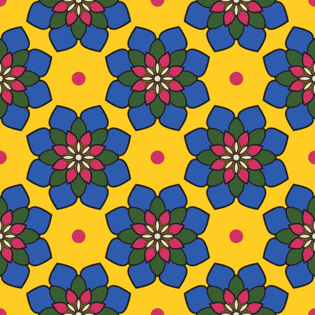 Abstract seamless pattern with mandala flower. Mosaic, tile, polka dot. Floral background. 矢量图像