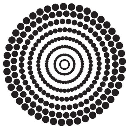 Screen printing pattern. Radiant frame. Abstract vortex. Circular pattern. Pop art round halftone frame isolated on white. Abstract whirligig, eyeball. Dotted print.