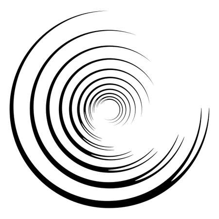 Abstract concentric circle. Spiral, swirl, twirl element. Circular and radial lines volute, helix. Segmented circle with rotation. Abstract radiating arc lines. Geometric cochlear, vortex illustration Иллюстрация