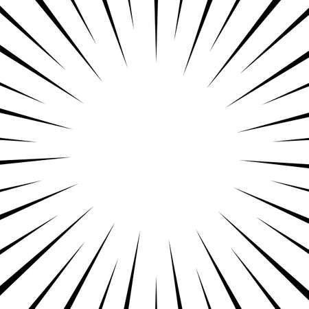 Black and white optical illusion burst background. Halftone effect. Abstract radial, convergent lines. Explosion, radiation, zoom, visual effect. Sun or star rays for Comic Books in pop art style.