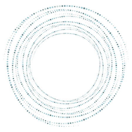 Dotted, dots, speckles abstract concentric circle frame. Spiral, swirl, twirl element. Circular and radial lines volute, helix. Segmented circle with rotation. Radiating arc lines. Cochlear, vortex
