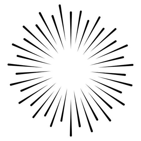 Star, round element, halftone rays isolated on white background.Geometric shape.