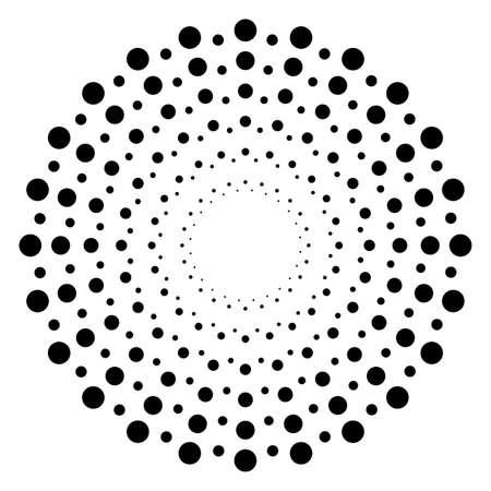Screen printing pattern. Radiant frame. Abstract vortex. Circular pattern. Pop art round halftone frame isolated on white. Abstract whirligig, eyeball. Dotted print. Vektorgrafik