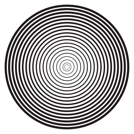 Concentric linear circles, neutral round element. Halftone outline element isolated on white background.