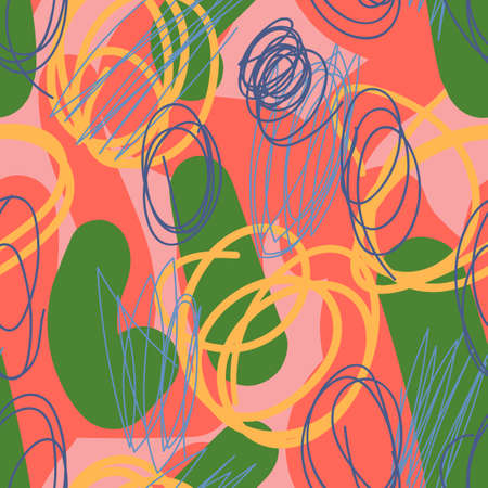 Modern hand draw colorful abstract seamless pattern with doodle geometrical shapes: circles, lines. Иллюстрация