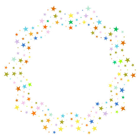Screen printing pattern with stars. Radiant frame. Circular pattern. Pop art round halftone frame isolated on white. Star print.