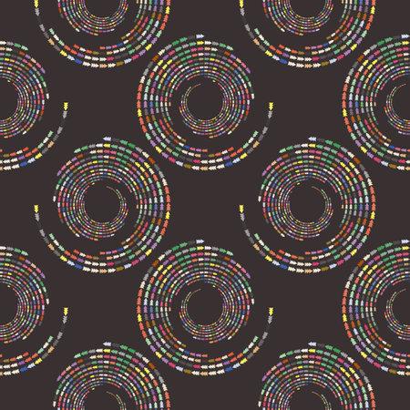 Screen printing seamless pattern. Radiant abstract vortex. Circular pattern. Pop art round halftone. Whirligig. Spruce tree, arrow print.