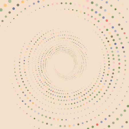 Dotted, dots, speckles abstract concentric circle. Spiral, swirl, twirl element. Circular and radial lines volute, helix. Segmented circle with rotation. Radiating arc lines. Cochlear, vortex