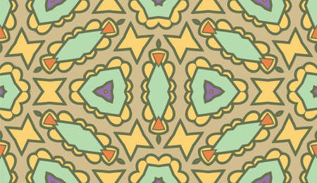 Abstract colorful doodle flower seamless pattern. Floral geometric background. Mosaic, tile of thin line ornament. 矢量图像