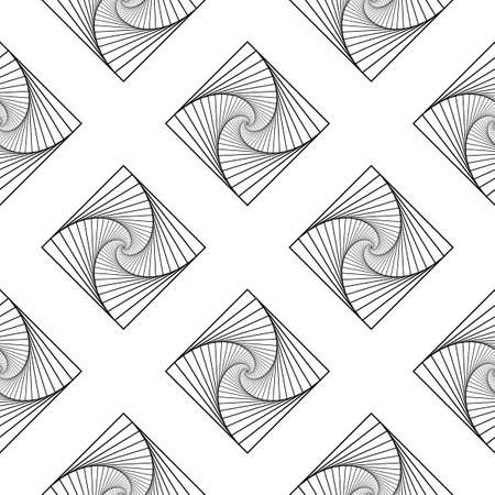 Rotating concentric squares seamless pattern, Square optical illusion pattern - black and white, Geometric abstract background