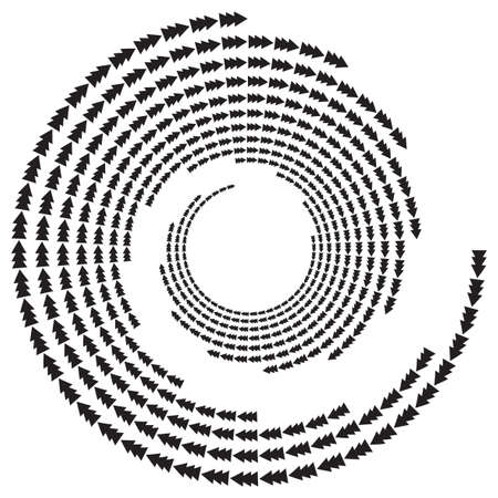 Arrow, spruce tree, speckles abstract concentric circle. Spiral, swirl, twirl element. Circular and radial lines volute, helix. Segmented arrow with rotation. Radiating arc lines. Cochlear, vortex 矢量图像