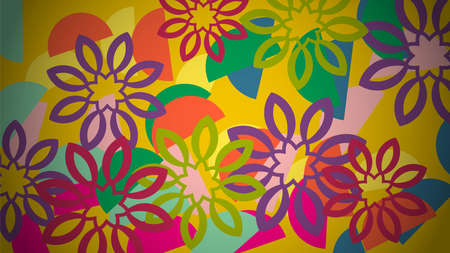 Floral card. Paradise fantasy flowers with petals. Tropical floral poster, background.