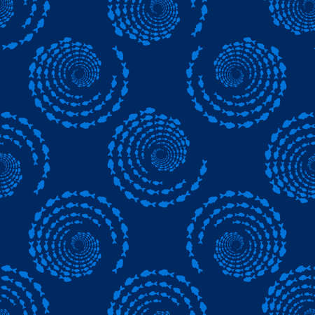 Seamless pattern with school of fish. Swirl, vortex of sea animal, fishes silhouettes. Marine life background. 矢量图像