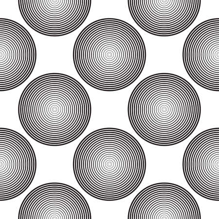 Screen printing seamless pattern. Radiant abstract halftone rings. Circular pattern. Pop art round striped print.