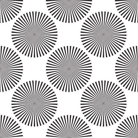 Screen printing seamless pattern. Radiant abstract vortex. Circular pattern. Pop art round halftone. Swirl, star striped print. 矢量图像
