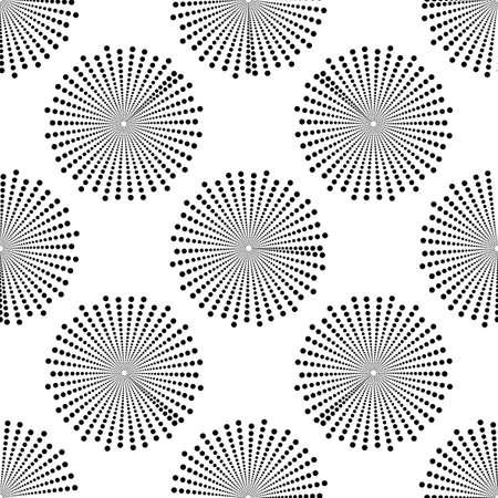 Screen printing seamless pattern. Radiant abstract vortex. Circular pattern. Pop art round halftone. Whirligig, eyeball. Dotted print.