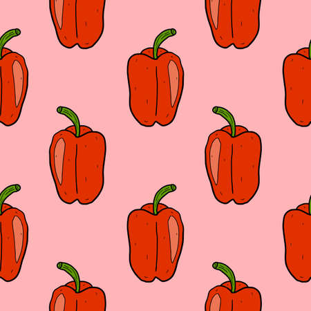 Cartoon doodle linear pepper seamless pattern. Vegetables background in hand drawn childlike style.