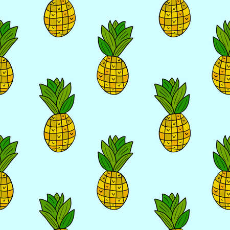 Cartoon doodle pineapple seamless pattern. Hand drawn fruit background.