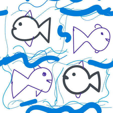 Cute colorful cartoon doodle fish in childlike style seamless pattern. Tropical ocean life. Animal wrapping paper.