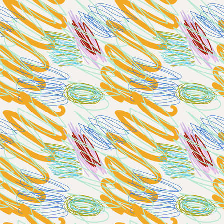 Colorful hand drawn doodle seamless pattern with abstract hand drawn brush strokes and paint splashes. Messy marker infinity texture, modern background. Иллюстрация