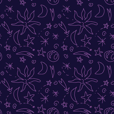 Cute doodle celestial seamless pattern with stars, sun, moon, swirls, planet. Cosmic magical infinity background.