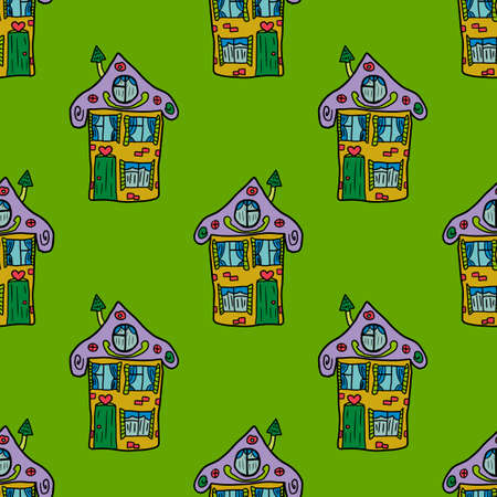 Cute hand drawn doodle house seamless pattern. Town background. Sketch of a building in childlike style.