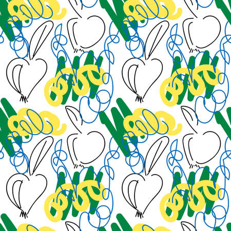 Colorful hand drawn doodle seamless pattern with apples and abstract hand drawn brush strokes, paint splashes. Messy marker infinity texture, modern background.