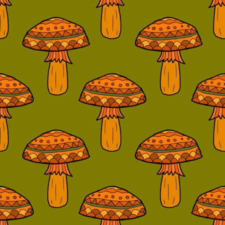 Cartoon doodle linear mushroom seamless pattern. Woodland, forest background. Vector illustration.