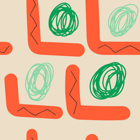 Colorful hand drawn doodle seamless pattern with abstract hand drawn shapes. Tile, infinity texture, modern background.
