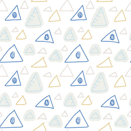 Doodle seamless pattern with triangles on white background. Hand drawn childlike style background. Infinity geometric wrapping paper.